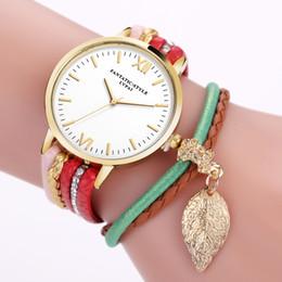 2019 montre bracelet multicouche Montre Femme Retro Multicouche Feuille Pendentif Perle Tressé Faux Cuir Quartz Bracelet Montre montre bracelet multicouche pas cher