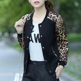 mädchenjacke blumenkragen Rabatt Leopard Flower Print Plus Size Baseball Basic Runde Kragen Button dünne Bomber Jacken mit langen Ärmeln Mädchen Mantel 2019 Damenjacke
