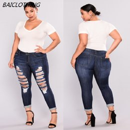 Jeans scarni grandi piedi online-BAICLOTHING New Jeans Europa Sud America del Nord Big Ass Feet High Elasticity Pantaloni skinny Pantaloni Fashion Hole For Women