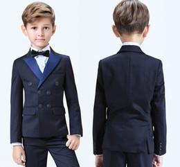 2019 komplette hochzeit 2019 Stilvolle Populäre Zweireiher Peak Revers Kid Komplette Designer Hübscher Junge Hochzeitsanzug Jungen Kleidung (jacke + Pants + Bow + Vest) rabatt komplette hochzeit