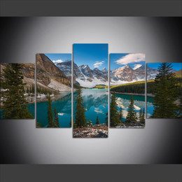 2019 pintura a óleo imagens montanhas 5 Peça Grande Tamanho Canvas Wall Art Pictures Criativo Mountain Lake Cenário de Impressão de Arte Pintura A Óleo para Sala de estar Decoração desconto pintura a óleo imagens montanhas
