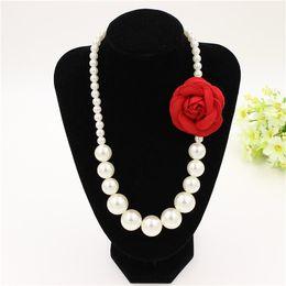 Auf lager Kinder mädchen Perlen Halskette 3D Blume modeschmuck Baby mädchen zubehör von Fabrikanten