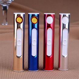 2020 mini encendedor recargable Mini Electornic Encendedores USB portátil a prueba de viento encendedor electrónico recargable sin llama cilindro redondo de metal ligero de 4 colores del envío gratis rebajas mini encendedor recargable