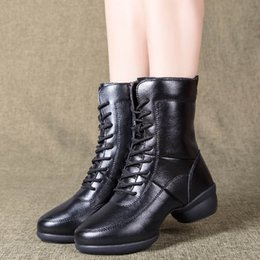 women jazz shoes Coupons - Winter Warm Dance Boot Women shoes new arrival Modern Dance Jazz Shoes Zipper Soft single woman Mid-Calf Leather Boots