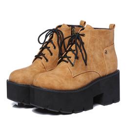 b81f0990f069eb bottes noires chaussures marron Promotion 2019 nouveau printemps  plate-forme bottes femme talon épais punk