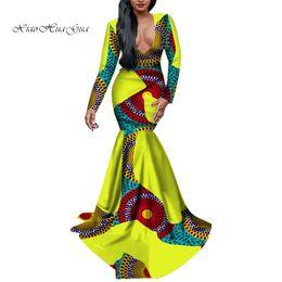 2019 estampas africanas sereia vestidos Moda Africano Bazin Rico Personalizado Sereia Patchwork Com Decote Em V Vestido de Impressão Vestido Longo para As Mulheres Tradicionais Roupas Africanas WY2760 estampas africanas sereia vestidos barato