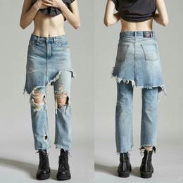 Gonne lunghe di mutande online-Primavera Estate donne Hip Hop a due pezzi falso denim pantaloni lunghi Gonna femminile rotto Foro strappato lavato Slim irregolari Jeans Trouses