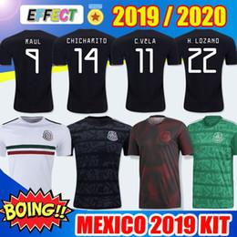 Wholesale 2019 Mexico Soccer Jerseys Kit New Mexico nazionale Gold Cup Home Nero Soccer Maglie CHICHARITO H LOZANO VELA RAUL LAYUN Adulto Kit bambini Formazione maglie da calcio
