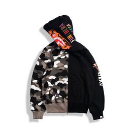 Großhandel Mode Marke Liebhaber schwarz grau Camo Reißverschluss Strickjacke Pullover Hoodies Männer Frauen Cartoon gedruckt Camo Baumwolle Hoodie