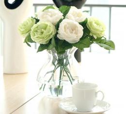 2019 hochzeit blumen rosa orange bouquet Charmante künstliche seide stoff rosen pfingstrosen blumen bouquet weiß rosa orange grün rot für hochzeit home hotel dekoration gb801 günstig hochzeit blumen rosa orange bouquet