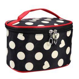 Косметические сумки полька-точка онлайн-Tote Women Polka Dot Heart Cosmetic Storage Bag Travel  Organizer Pouch Woman Portable Storage  Travel Cosmetic Bag