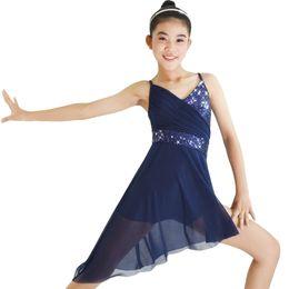 8b87f6503 V-Neck Sequin Lyrical Dance Dress Ballroom Dancing Dress Gymnastics Skating  Performance Costumes Stage Wear Dancing Skirts
