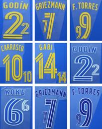 2016 2017 De Madrid impresión de nombres de fútbol GRIEZMANN TORRES KOKE pegatinas de estampado del jugador letras impresas impresas en caliente impresas en plástico desde fabricantes