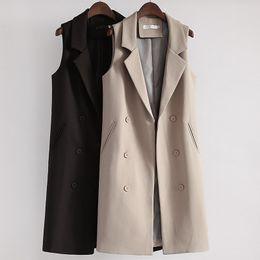 женщина с двубортным жилетом Скидка Fashion Long Black Vests Spring Autumn Women Sleeveless Blazer Vest Coat Female Double Breasted Waistcoat Jacket Outwear AB1282