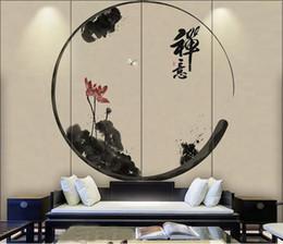 Пользовательские обои чернила лотоса пруд Китай стиль ТВ фон стены украшения дома гостиная спальня фрески 3d обои supplier live tv china от Поставщики жить телевизор