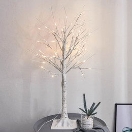 ramos iluminados brancos Desconto 45 CM Paisagem Ramos Noite Luz Festival Artificial Árvore de Vidoeiro 24 LED Partido Branco Morno Casa Decorativa PVC lâmpada
