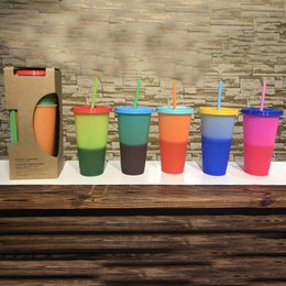 reusable bottles Promo Codes - 710ml Color Changing Cups Magic Plastic Drinking Tumblers Cup with lid straw Candy colors Reusable cold drinks water bottle Coffee mug