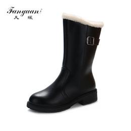 Canada Fanyuan hiver femmes bottes de neige chaudes bottes mi-mollet talon carré fermeture à glissière côté casual femmes PU PU fourrure chaude cheveux chaussures Offre