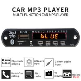 плата mp3-детектора bluetooth mp3 Скидка Поддержка записи Bluetooth автомобильный комплект громкой связи Mp3-плеер FM-радио TF AUX USB беспроводной стерео-приемник Mp3 декодер доска
