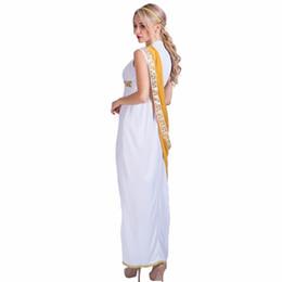 3f9b27f127 Donne sexy dea greca romana signora costume egiziano cosplay bianco tuta  abito fantasia per costumi adulti di sesso femminile di Halloween