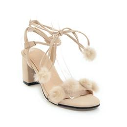 Sommersandalen kleine frische High Heel Haarkugel dick mit offenem Zehenkreuzriemen 31-46 Meter weibliche Schuhe 18418 von Fabrikanten