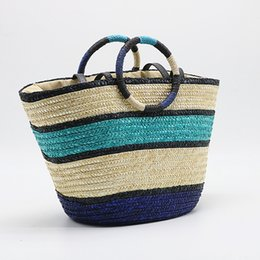 2019 bolso de playa de cuero de paja Bolso de paja para mujer Verano Playa Bolso de paja Bolso de madera Bolso bandolera con bandolera con correa de cuero bolso de playa de cuero de paja baratos