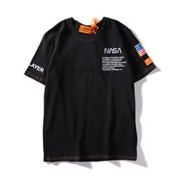 2019 x masculin Designer Hommes D'été T-shirts NASA X Heron Preston Marque T-shirt Emboridered Hommes Hauts Hommes D'été De Luxe Chemises Streetwear x masculin pas cher