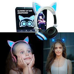 Светящиеся кошка ухо игровые наушники складной мигающий гарнитура светодиодные игровые наушники несколько соединение для смарт-телефона MP4 от