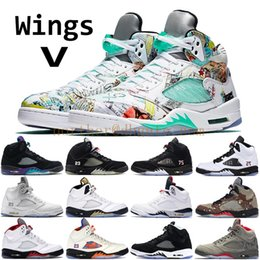buy online c422d 8c94a 2019 Nike air jordan 5 hommes ailes 5 5s chaussures de basketball mens  raisin noir PSG noir blanc réfléchissant camo oreo blanc ciment feu rouge  designer ...