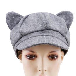 2019 gorras de moda corea Otoño Sombreros de invierno de Corea mujeres de la manera del vendedor de periódicos de almohadillas gato octogonal Cap para la Mujer llana sólida de fieltro de lana del pintor del casquillo del vendedor de periódicos gorras de moda corea baratos