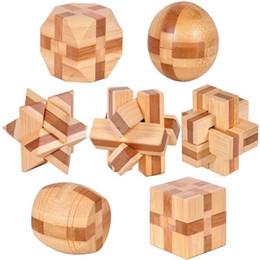 2019 bambus-puzzle Wholesale-7pcs / lot 3D umweltfreundliches Puzzle des Bambus-IQ Gehirn-Teasererwachsenen, pädagogisches hölzernes Spielzeug für Kinder rabatt bambus-puzzle