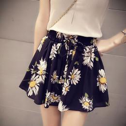 legging saia mais tamanho Desconto 2019 Novo Verão de Cintura Alta Floral Saia das Mulheres Shorts Moda Arco Chiffon Feminino Perna Larga Curto Hotpants Plus Size C1036