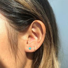 modelli ornamenti d'oro Sconti Charm Sei orecchini di turchese Piccoli orecchini minimalista vite prigioniera freschi per la ragazza delle donne di fidanzamento sposa gioielli accessori