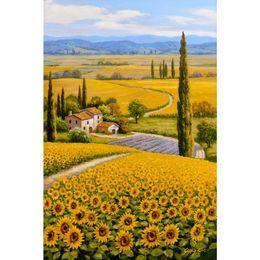 Lona de pintura a óleo de girassol on-line-Bela pintura a óleo paisagens girassol campo cantado Kim arte sobre tela pintado à mão