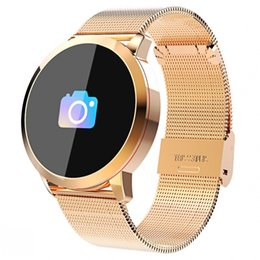 умные часы стали водонепроницаемыми Скидка Новый Q8 Oled Bluetooth Смарт Часы Из Нержавеющей Стали Водонепроницаемый Носимых Устройств Smartwatch Наручные Часы Мужчины Женщины Фитнес-Трекер T190629