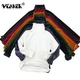 camiseta larga inferior Rebajas Marca de primavera de terciopelo camiseta de las mujeres de manga larga de cuello alto de fondo camiseta delgada suéteres de terciopelo de la vendimia de cuello alto básico Tops