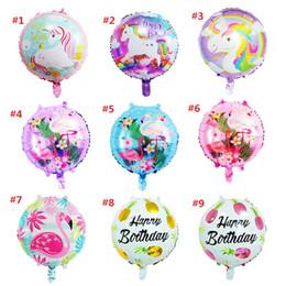 10 styles 18inch Licorne MignonneFlamingo ballons ronds de fruits feuille Balloons Enfant Jouets Baby Shower De Mariage Décorations De Fête D'anniversaire Cadeaux z272 ? partir de fabricateur