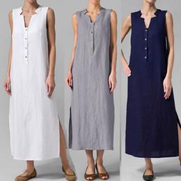 1775e46a5a1 Robe D été Femmes Sexy Femmes Élégantes D été Sans Manches Bouton Solide Robe  Longue Casual Linen Tunique Maxi Longue Robe Vestito Donna