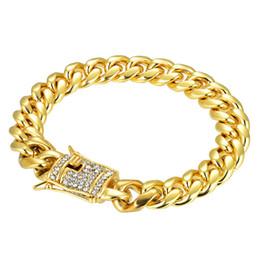 Pulseira feminina de ouro amarelo 18k on-line-Mens Womens 18 K Amarelo Banhado A Ouro de Aço Inoxidável CZ Curb Ligação 9.05 polegada Pulseira Do Punk