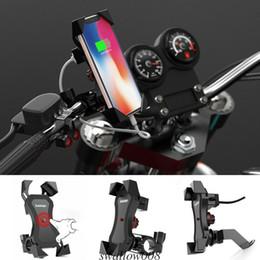 2019 cargador de teléfono celular de la motocicleta 360 ° Bicicleta Moto Bicicleta Soporte para teléfono Soporte USB Cargador para teléfono celular GPS Soporte universal ajustable Accesorios cargador de teléfono celular de la motocicleta baratos