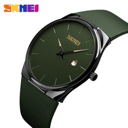 smallest watch Coupons - SKMEI Quartz Watch Men Lady Fashion Mens Women Wristwatches Waterproof PU Small Dial Watches Army Green relogio masc 1509