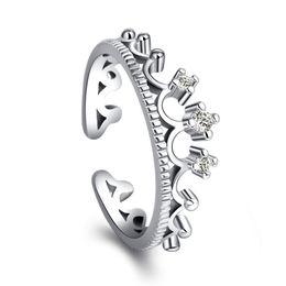 925 Anillos de plata de la corona mujeres joyería de la boda anillo de dedo  ajustable para mujer niñas joyería de moda femenina accesorios al por mayor  ... b89b7b8f641