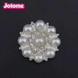 wholesale Craft Pearl Crystal Rhinestone Buttons Flower Round Cluster  Flatback Wedding Invitation Embellishment button Jewelry Craft 683a4ca3ff7c
