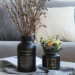 2019 vasi da tavola di fiori artificiali Vasi di vetro opaco nero nordico Idroponica Fiore pianta per bouquet di fiori artificiali con Vaso Wedding Table Home Decoration vasi da tavola di fiori artificiali economici