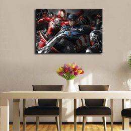 eisen mann cartoon bilder Rabatt Marvel The Avengers Iron Man Captain America Poster HD Leinwand Malerei Öl Gerahmte Wandkunst Druck Bilder Für Wohnzimmer Home Decoracion