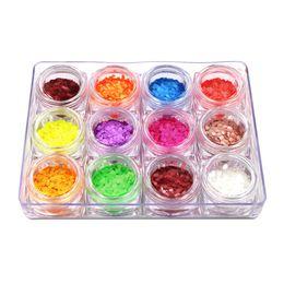 Pregos acrílicos doces on-line-Atacado 12 pc Moda Arte 3D Estilos Nail Art DIY Prego Glitter Doces Cor Lantejoulas 3D Nail Art Decoração Acrílico Natural Jan10