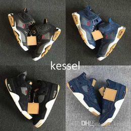 2019 ls sapatos Mens tênis de basquete 4 6 11 13 denim ls travis homens preto blue jeans 4s 11 s 1 s 13 s esportes formadores sapatilhas tamanho 40-47 ls sapatos barato