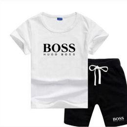 2019 pantalon garçon imprimé crâne BOSS Buddha boys design de luxe ensembles enfants pour bébé 2 pièces Ensembles chemise à manches courtes + short à carreaux enfants ensembles de vêtements 8 couleurs 2-7T