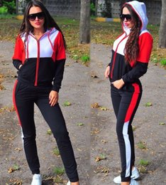 ladies cycle shorts set Coupons - 2019 New Ladies Casual Suit Striped Color Matching Sweater + Trousers 2 Sets of Women Tracksuit Women Jogging Suit