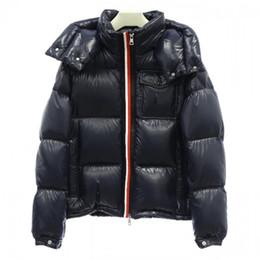 Hoodie preto grosso on-line-Masculinos Marca Inverno jaqueta Men casaco quente de Down Coats Mulher MONC preto jaqueta Zip espessura quente de alta qualidade Brasão Hoodie
